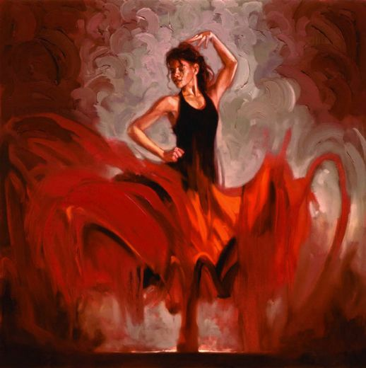 A woman dancing. Painting from http://mestovrchlabi.cz/tancirna/a-1475